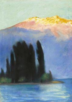 Lesser Ury - Lake Garda, 1910. Pastel on board
