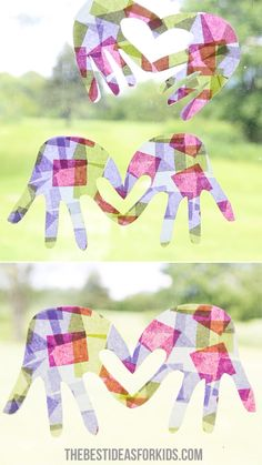 HANDPRINT SUNCATCHER ️ - - There's nothing better than a homemade craft that doubles as a keepsake. Today we have this adorable handprint suncatcher craft to share with you. We love to make handprint crafts here. Some of our favorites. Cute Kids Crafts, Mothers Day Crafts For Kids, Winter Crafts For Kids, Spring Crafts, Toddler Crafts, Creative Crafts, Easy Crafts, Holiday Crafts, Crafts For Babies
