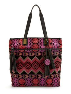 Abstract Print Suede Tote