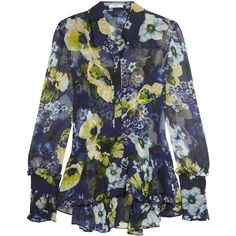 Erdem Liya ruffled floral-print silk-georgette blouse (22,460 MXN) ❤ liked on Polyvore featuring tops, blouses, navy, flower blouse, navy camisole, see through blouse, floral print blouse and navy blue cami