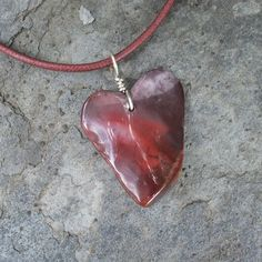 Mookaite Jasper heart necklace - natural stone jewelry in red purrple handmade in Australia by NaturesArtMelbourne on Etsy