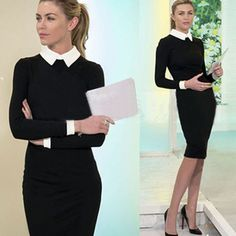 Formal Office Dress 2015 Winter Long Sleeve Dresses Lapel Black Pencil Skirt Waist Plus Size Women Clothing Formal Office Dress