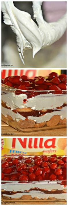 cherry cheesecake cookie lasagna collage