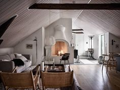 A Swedish Home With a Magnificent Fireplace! Fresh Farmhouse, Swedish House, Winter House, Scandinavian Home, One Bedroom, Interior Inspiration, Daily Inspiration, Design Inspiration, Small Spaces