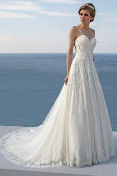 Mark Lesley Bridalwear 7411 - Mark Lesley Bridalwear Designer Wedding Dresses, Wedding Gowns, Sabrina Neckline, Illusion Neckline, Chantilly Lace, Nude Color, Beaded Lace, Elegant Dresses, One Shoulder Wedding Dress