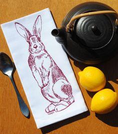 Set of Four Burgundy Rabbit Kitchen Napkins  Eco Friendly  $24 Click Here: https://www.etsy.com/listing/205821930/burgundy-rabbit-kitchen-napkins-eco?utm_source=Pinterest&utm_medium=PageTools&utm_campaign=Share
