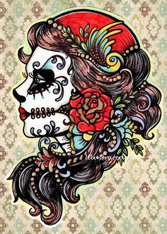 Day of the Dead Art Tattoo ROSE RED Beauty 5 x 7 by illustratedink, $10.50
