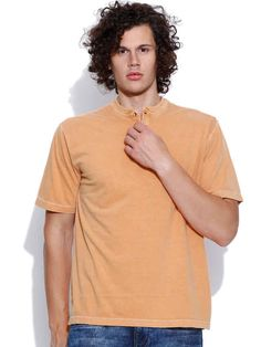 Dream of Glory Inc. Orange Henley T-shirt