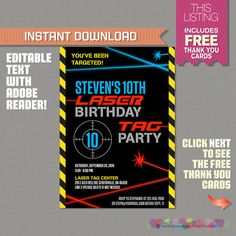 Laser tag free printables laser tag invitations printable free laser tag invitation with free thank you card laser tag party instant download edit and print at home with adobe reader filmwisefo
