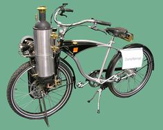 A steam-powered bicycle by John van de Riet, in Dortmund Velo Vintage, Vintage Bicycles, Vintage Motorcycles, Small Motorcycles, Powered Bicycle, Motorised Bike, Solar Car, Power Bike, Push Bikes