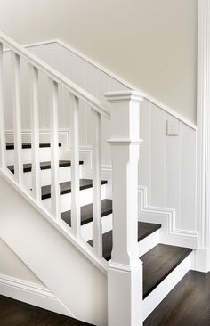 Warm inviting and perfect for a busy family this elegant home brings a softer House Stairs brings busy Elegant Family home Inviting Perfect softer Warm Staircase Banister Ideas, White Staircase, House Staircase, Staircase Remodel, Staircase Makeover, Modern Staircase, Banisters, Stairs White And Wood, Stair Case Railing Ideas