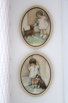 Project Nursery - Antique Prints of a Little Girl and her Dog