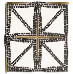 Indus, a waterjet and hand-cut mosaic, shown in tumbled Nero Marquina, honed Thassos, and Bronze brushed. Designed by James Duncan for New Ravenna Mosaics. Indus is part of New Ravenna's Studio Line of ready to ship mosaics. Stone Mosaic, Stone Tiles, Mosaic Tiles, Ravenna Mosaics, Line Stone, New Ravenna, Base Moulding, Moldings, Flats