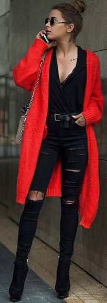 21 Stylish Outfit Ideas for Christmas: #13. TRENDY RED COAT AND RIPPED JEANS; #fashion; #christmas; #outfits