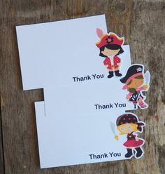Pirate Girl Party  Set of 8 Pirate Girl Thank by TheBirthdayHouse, $8.00