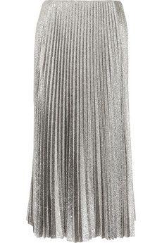 Cédric Charlier Pleated silk-blend lamé midi skirt | NET-A-PORTER