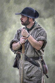 Frontiersman Portrait by Randy Steele American Revolutionary War, American War, Early American, Native American Indians, American History, Kings Mountain, Mountain Man, Colonial Art, Primitive Survival