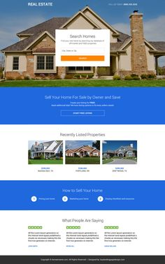 professional real estate mini responsive landing page Real Estate Landing Pages, Real Estate Website Design, Landing Page Design, City State, Real Estate Investing, Mini, Mansions, House Styles, Lead Generation