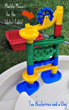 Here are two fun things to add to your water table this summer!if you have an old marble maze toy laying around because yo. Marble Maze, Water Play, Fun Things, Blueberry, Toys, Table, Summer, Activity Toys, Berry