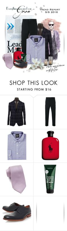 """Tux"" by lubglub on Polyvore featuring Tagliatore, Comme des Garçons Homme, Just A Cheap Shirt, Ralph Lauren, Calvin Klein, Matrix Biolage, Grenson, men's fashion and menswear"