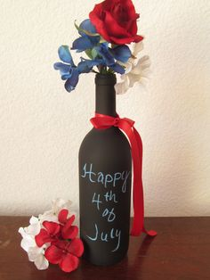 4th Of July Wine Bottle / Chalkboard Wine by TreasuredCelebration, $9.00
