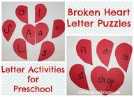 Alphabet Activities for Preschool: Heart Puzzles and More!  3 Letter Activities from the Valentine's Day for Kids Series on Google Plus.