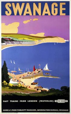 'Swanage', BR poster, c by Danvers, Verney L at Science and Society Picture Library Posters Uk, Train Posters, Railway Posters, Poster Prints, Art Prints, British Travel, British Seaside, National Railway Museum, Art Deco Print