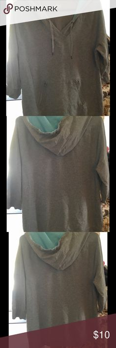 Medium weight hoodie Beautiful gray and teal hoodie with two front zipper pockets. Sleeves rest mid arm above the elbow unless your arms are shorter then they might be a little longer Style & Co Tops Sweatshirts & Hoodies