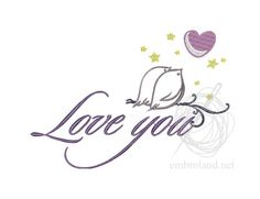 Love You - Machine Embroidery Design - Instant Download - Three sizes