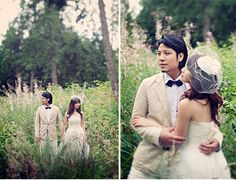 bride and groom in tall grass