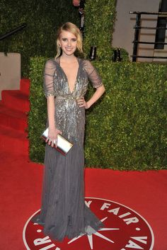 Emma Roberts in a shimmering Jenny Packham gown at the Vanity Fair Oscar party in February 2011.