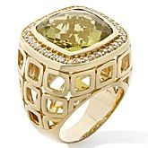 Sima K 10.76ct Lemon Quartz and White Topaz Vermeil Ring