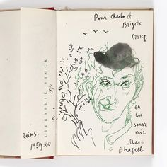 """Marc Chagall (1887-1985) Autoportrait à la grimace au chapeau noir - 1959-1960 Lavis d'encre de Chine et encre de Chine sur fond d'impression en vert, signé et annoté """"en / bon / souve / nir / Marc / Chagall"""" en bas à droite, daté et situé """"Reims / 1959-60"""" en bas à gauche et dédicacé en haut à droite """"Pour Charles et Brigitte Marcq [sic]"""" 18,9 × 18,1 cm Figure sur la page de garde de l'ouvrage """"Ma vie"""", volume edité en 1957 par Stock #piasa_auction #piasa #design #auction #Interiordesign"""