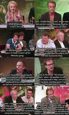 "The harry potter cast on their favourite costume or accessory. Ralph: ""I would tease them with my inner thigh."""