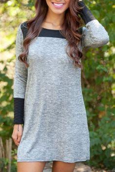 Grey /Black Scoop Neck Long Sleeve Dress