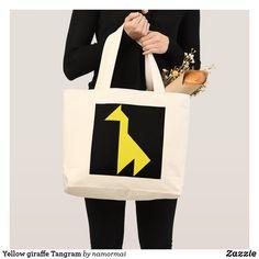 Yellow giraffe Tangram Large Tote Bag #giraffe #YellowGiraffe #animals #tangram #LargeToteBag #zazzle #safari #zoo #puzzle