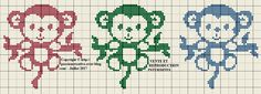 Grille gratuite point de croix : Trois petits ouistitis - Passion creative Cross Stitch Baby, Cross Stitch Animals, Cross Stitch Charts, Embroidery Thread, Cross Stitch Embroidery, Broderie Simple, Beaded Cross, Tapestry Crochet, Knitting Charts