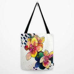 Inky Orchid // Canvas Tote by MarcellaWylie on Etsy, £26.00