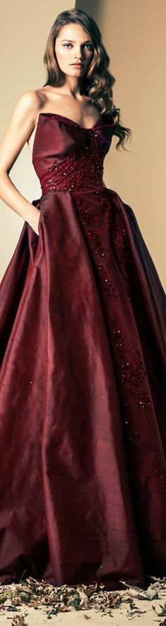 Ziad Nakad Couture | Fall/Winter 2014 #gown #dress #elegant #red #strapless ♥