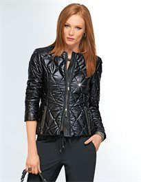 Quilted jacket with rhinestones and studs