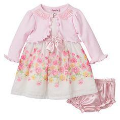 Baby Girl Nannette Ruffle Shrug & Floral Bow Dress Set