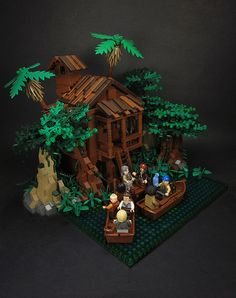 Tia Dalma's haven of witchcraft from the Pirates of the Caribbean films. I LOVE the build techniques used here.