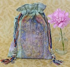 Palmestry Art Tarot Pouch Oracle Card Bag Silk Blues Greens Beads Charms Tassels Gold Embroidery