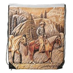 Western Style, Old West, on Brown Leather Print Backpacks