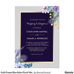 Gold Frame Blue Boho Floral Wedding Invitation #wedding #floralwedding
