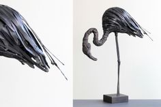 Sculpture métal - Flamant rose