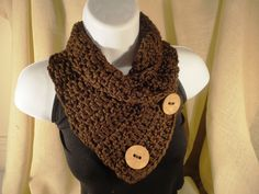 Crochet Scarf Cowl Neck Warmer with Buttons Chocolate Brown. $26.00, via Etsy. // For Mom