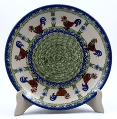 """Polish Pottery - 10"""" Dinner Plate - Chicken Dance   The Polish Pottery Outlet"""