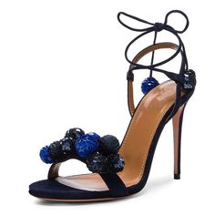 d1ed831892cf0 Shoespie Sequined Pompom Lace Up Sandals Chunky Sandals
