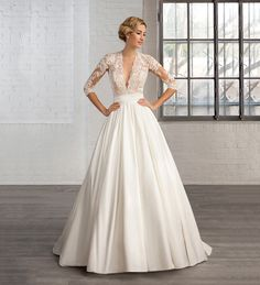 Deep V Neck Half Sleeves Wedding Party Gown